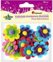 Naklejki filcowe/piankowe kreatywne kwiaty 4cm 12szt