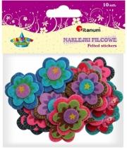 Naklejki filcowe kreatywne kwiaty folklor 4cm 10szt