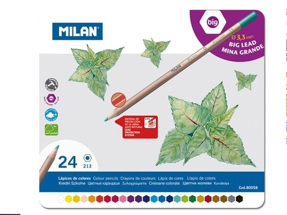 Kredki Milan ołówkowe sześciokątne 24 kolory w metalowym opakowaniu