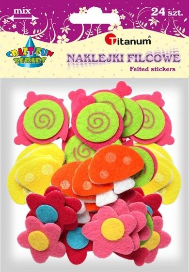 Naklejki filcowe kreatywne kwiat, grzyb, ślimak 3-5cm 24szt