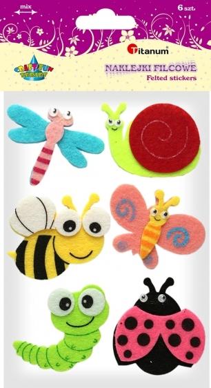 Naklejki filcowe kreatywne owady 50-55mm 6szt