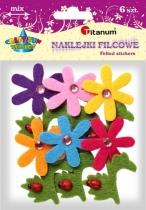 Naklejki filcowe kreatywne kwiaty z biedronką 7,5cm 6szt