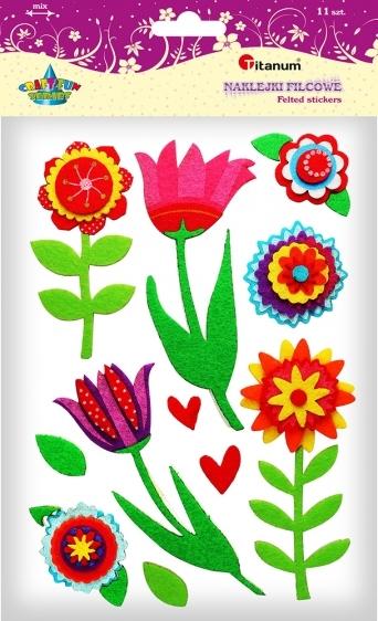 Naklejki filcowe kreatywne kwiatki 3-14cm 11szt