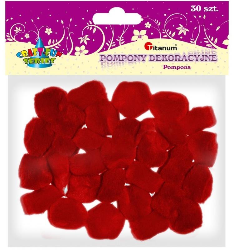 Pompony akrylowe kreatywne czerwone 25mm 30szt.