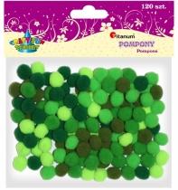 Pompony akrylowe kreatywne zielone 10mm 120szt.