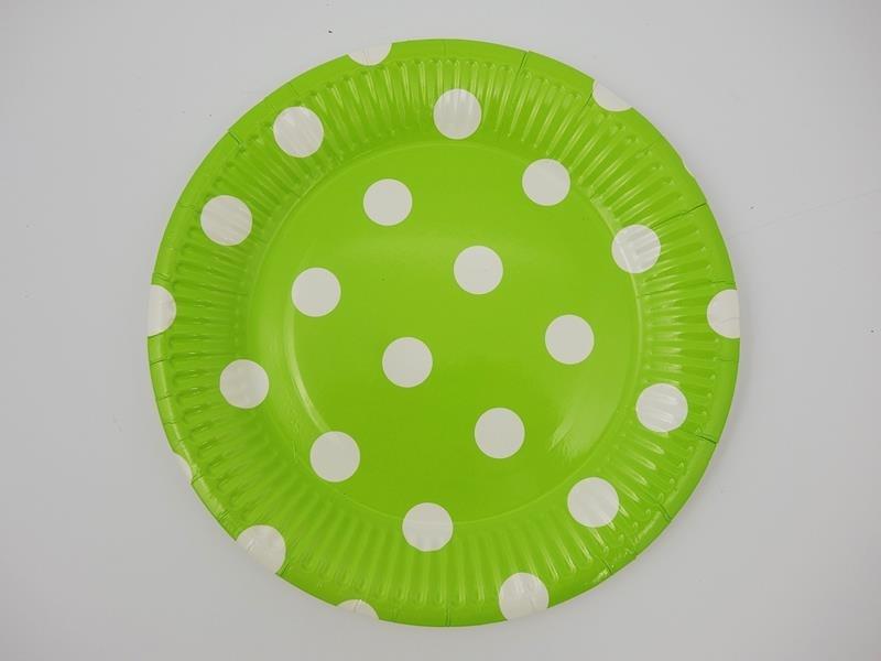 Talerz papierowy kolor kropka zielony 17,5cml A`10