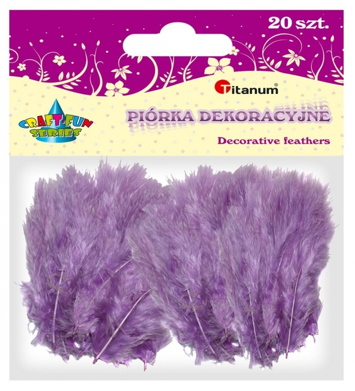 Piórka dekoracyjne kreatywne liliowy 110mm 20szt.