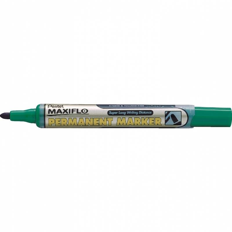 Marker permanentny okrągły z tłoczkiem Maxiflo Pentel zielony