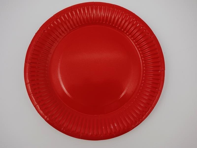 Talerz papierowy kolor czerwony 17,5cml A`10