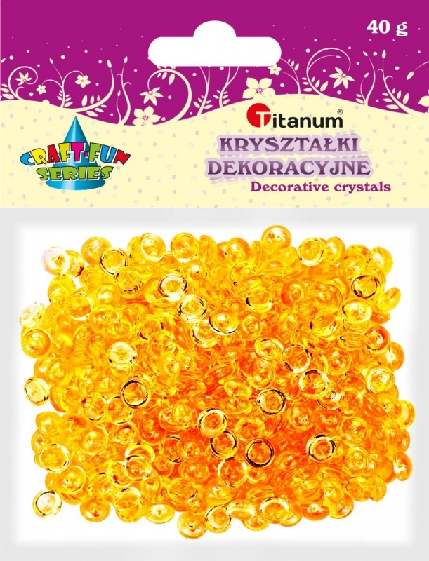 Kryształki ozdobne plastikowe pomarańczowe 40g