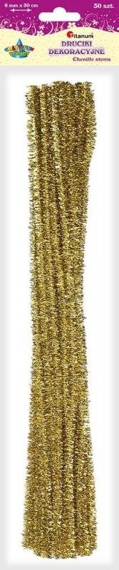 Druciki kreatywne metalizowane złote 0,6x30cm A`30