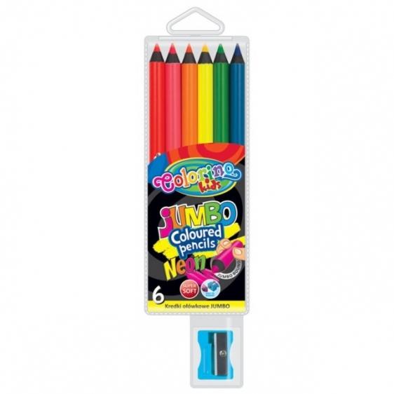 Kredki ołówkowe Jumbo Neon 6 kolorów + temperówka Colorino