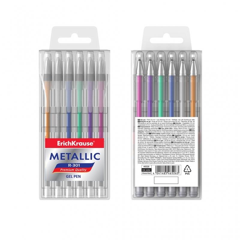 Długopis żelowy 6 kolorów Metallic R-301