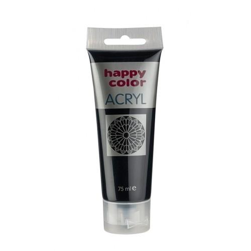 Farba akrylowa czarna 75 ml Happy Color