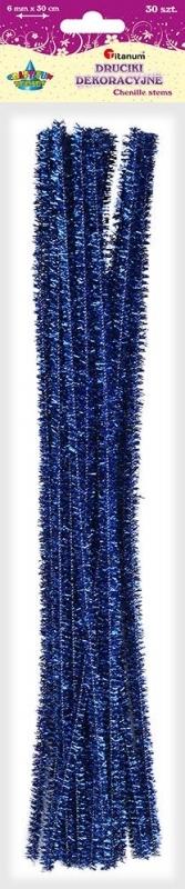 Druciki kreatywne metalizowane niebieskie 0,6x30cm A`30