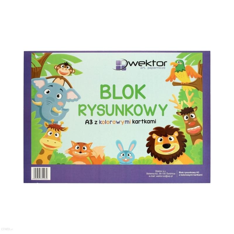 Blok rysunkowy A3 16 kartek kolor Wektor