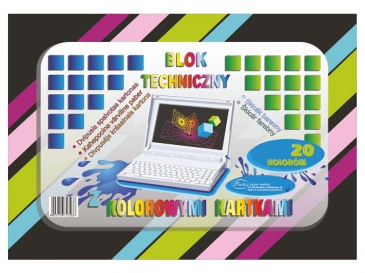 Blok techniczny kolorowy A3 20 kartek