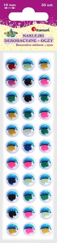 Oczy samoprzylepne  kolor/rzęsy 10mm A`33