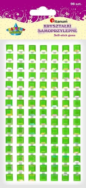 Kryształki samoprzylepne kwadrat zielone A`98