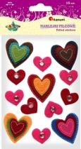 Naklejki filcowe kreatywne serca z kryształkami 25-40 mm 13szt