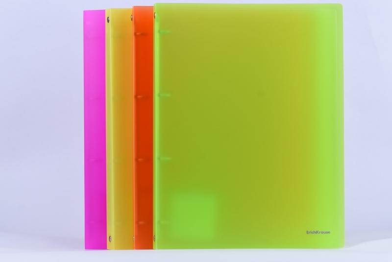 Segregator PP A4/24mm 4 ringi neon zielony