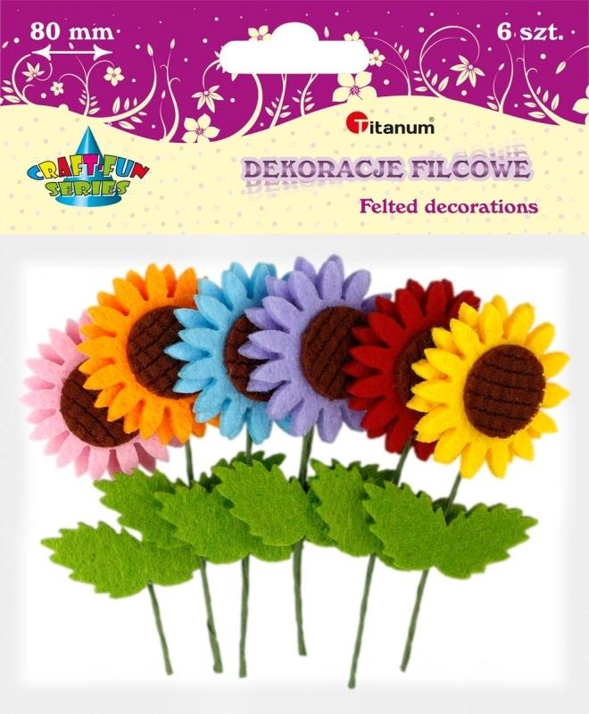 Dekoracje filcowe Kwiaty 3D mix A`6