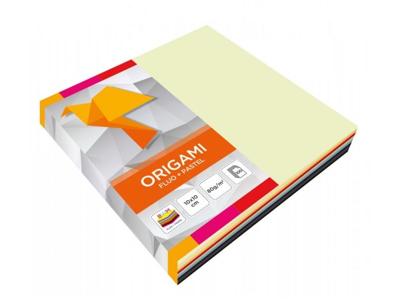 Papier do origami 10*10 fluo+pastel op.100szt