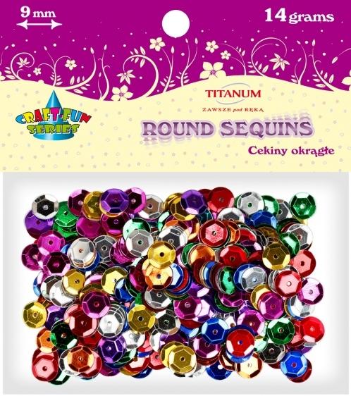 Cekiny kreatywne okrągłe metaliczne mix kolorów 9mm 14g