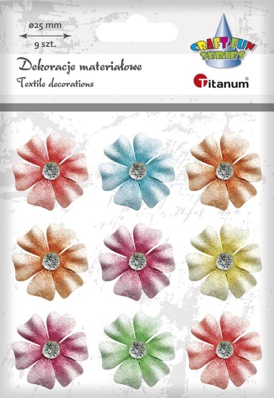 Ozdoba materiałowa kwiatki A`9 25mm