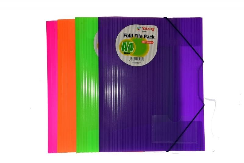 Teczka A4 na 2 gumki neon PP pomarańczowa Yalong