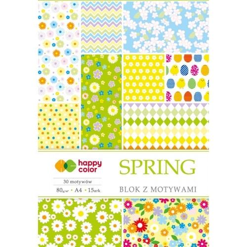 Happy Color blok z motywem Spring A4 15 ark