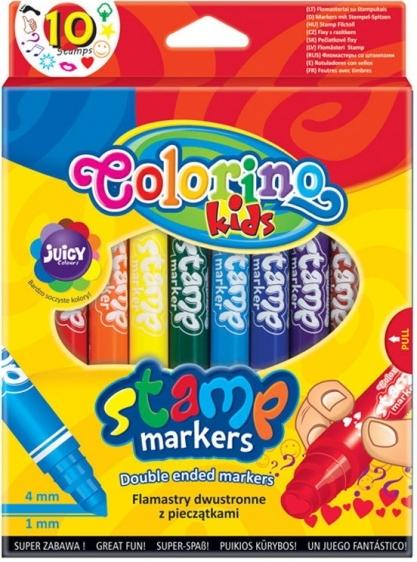 Flamastry dwustronne z pieczątkami 10 kolorów Colorino