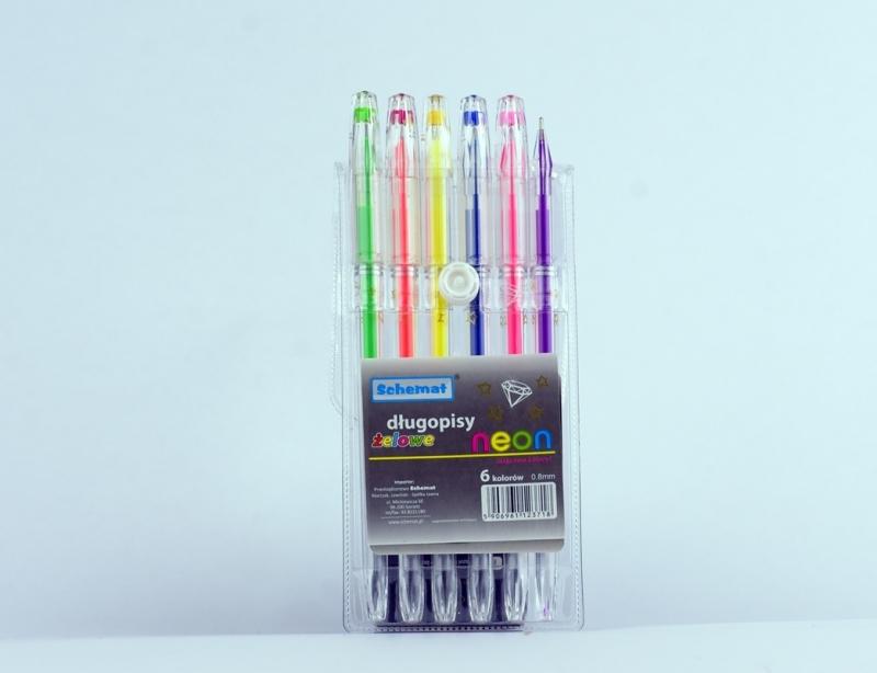 Długopisy żelowe neon z diamentem 6 kolorów