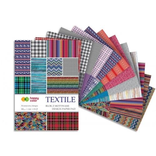 Happy Color blok z motywem Textile A4 15 ark