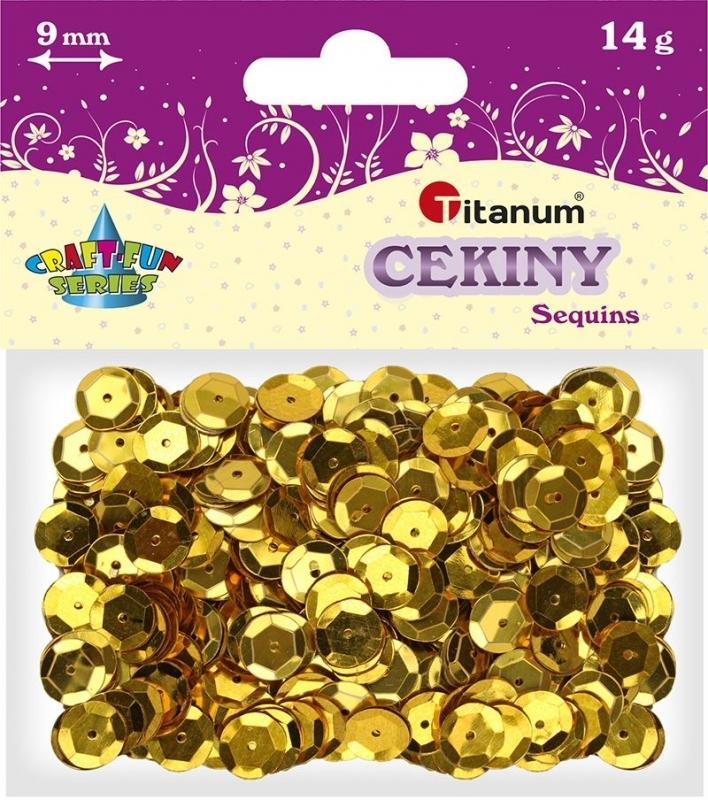 Cekiny kreatywne okrągłe metaliczne złote 9mm 14g