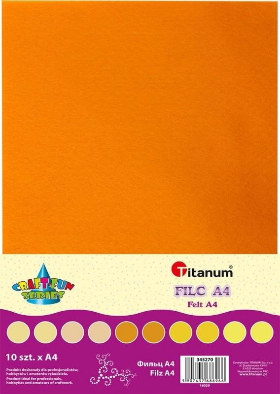 Filc dekoracyjny A4 mix tonacja żółta  A`10