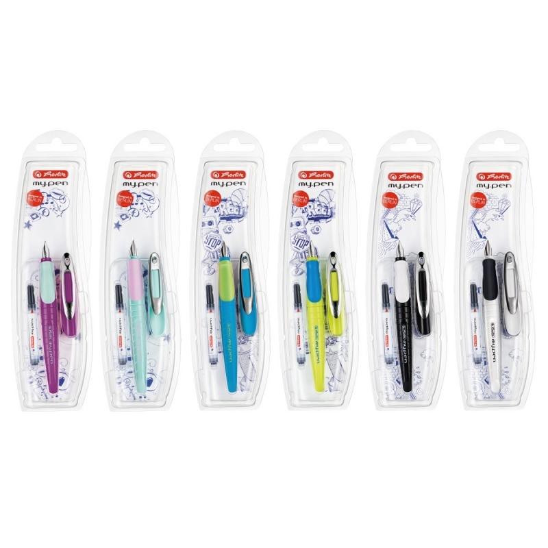 Pióro wieczne dla leworęcznych My Pen nieb/neon