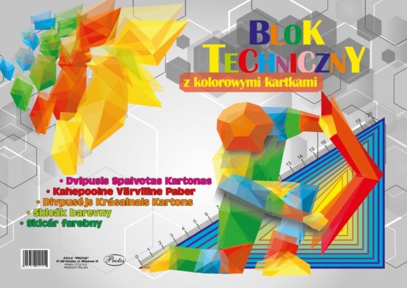 Blok techniczny kolorowy A3 8 kartek