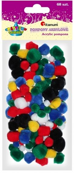 Pompony akrylowe kreatywne mix kolorów 10-25mm 68szt..