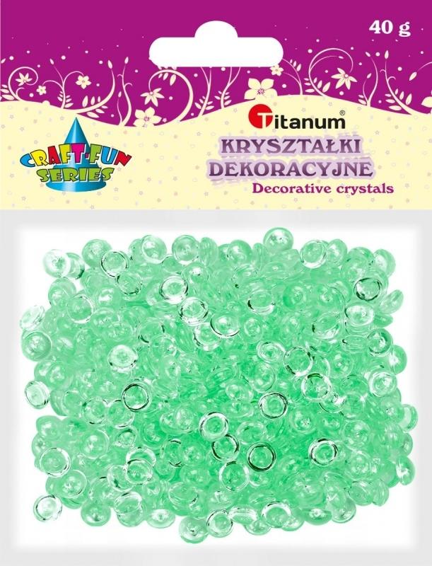 Kryształki ozdobne plastikowe jasno zielone 40g