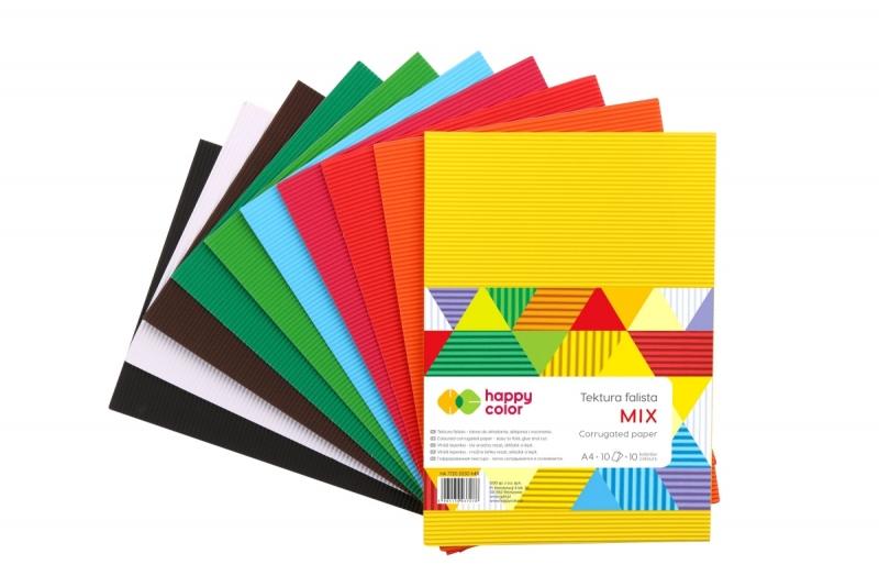 Tektura falista mix kolor A4 op.10szt Happy Color