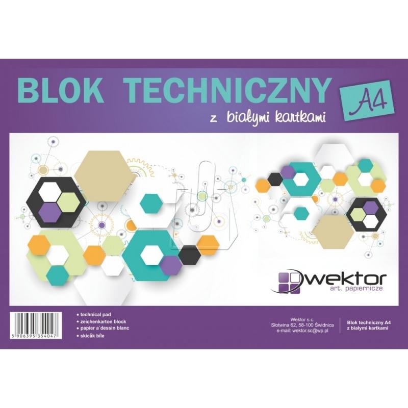 Blok techniczny A4 10 kartek biały Wektor