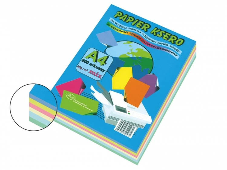 Papier ksero mix pastelowy A4/200 80g