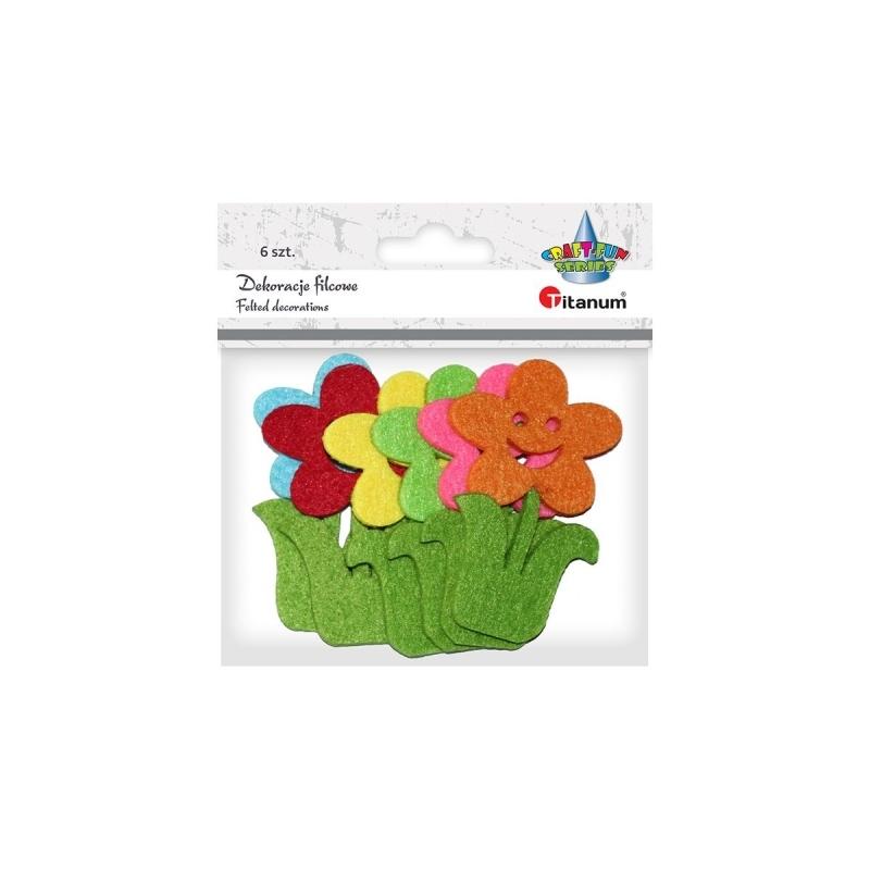 Dekoracje filcowe A`6 mix kwiaty