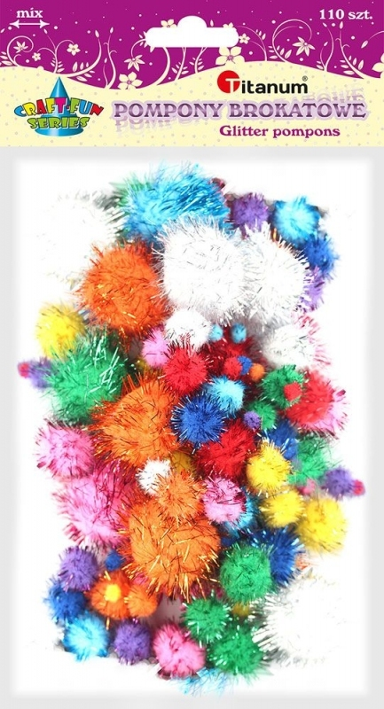 Pompony brokatowe mix kolor 1-3 cm A`110