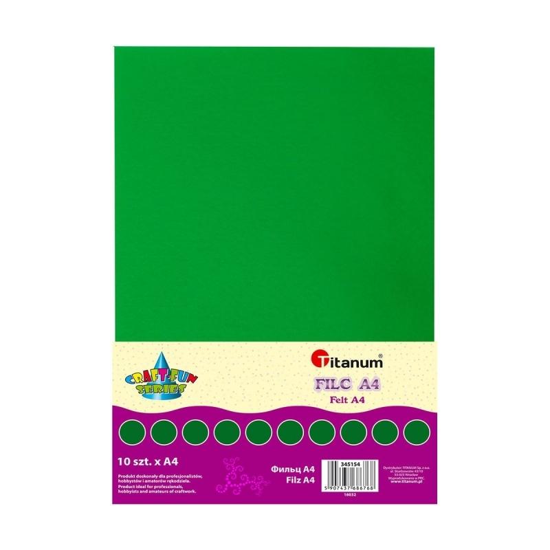Filc dekoracyjn ciemno zielony A4 10 ark. 2mm