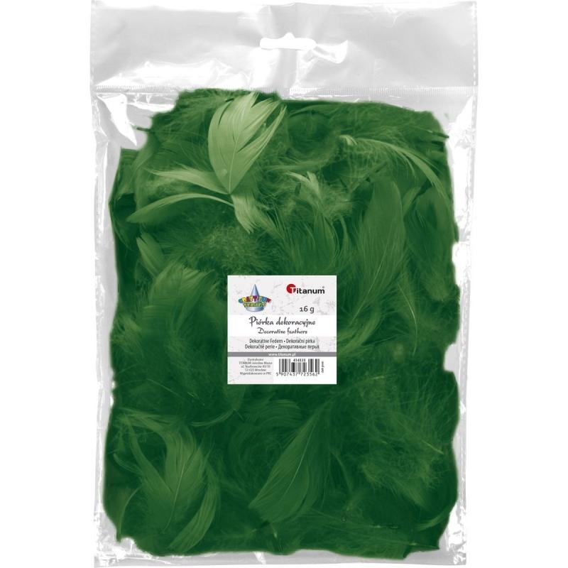 Piórka dekoracyjne 16g 5-12cm mix ciemno zielony