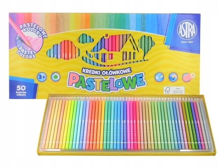 Kredki ołówkowe pastelowe 50 kol Astra