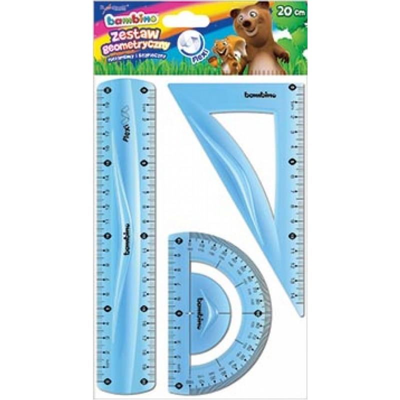 Zestaw geometryczny elastyczny 3el. 20cm Bambino