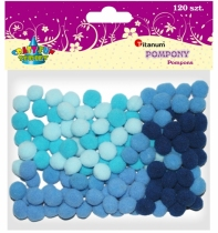 Pompony akrylowe kreatywne niebieskie 10mm 120szt.